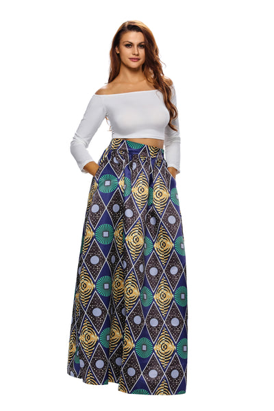 Chic Circle Diamond African Print Navy Maxi Skirt