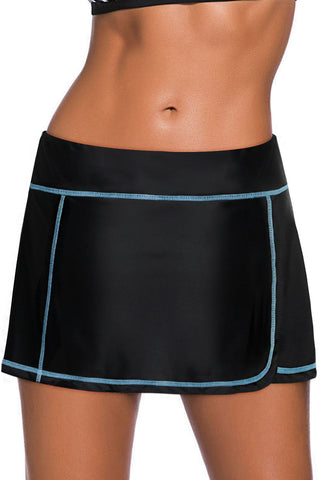 Blue Stitch Trim Black Swim Skirt Bottom
