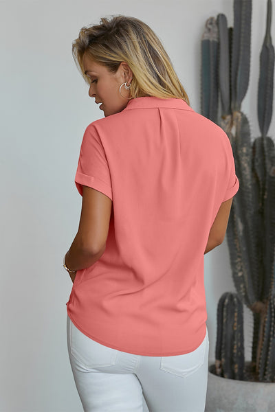 Pink Road To Success Button Up Drape Blouse