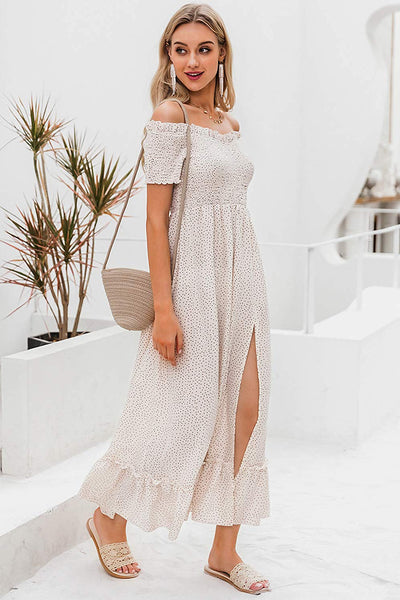 White Polka Dot Off Shoulder Split Maxi Dress