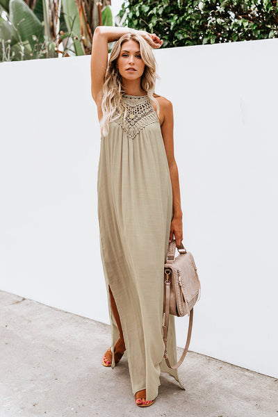 Apricot Crochet Detail Linen Sleeveless Maxi Dress with Slits