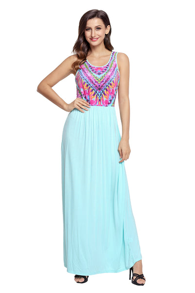 Stylish Tribal Print Sleeveless Mint Maxi Dress
