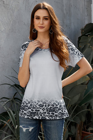 Gray Loose Snow Leopard Top