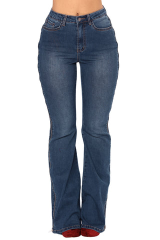 Blue Denim Zipped Legs Bell Bottom Jeans