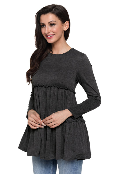 Gray Long Sleeve Layered Babydoll Tunic