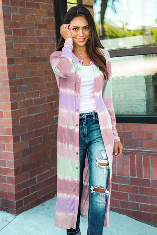 Colorblock Pocketed Button Duster Cardigan