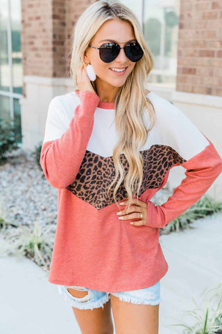 Leopard Print Stitching Color Block Long Sleeve Top