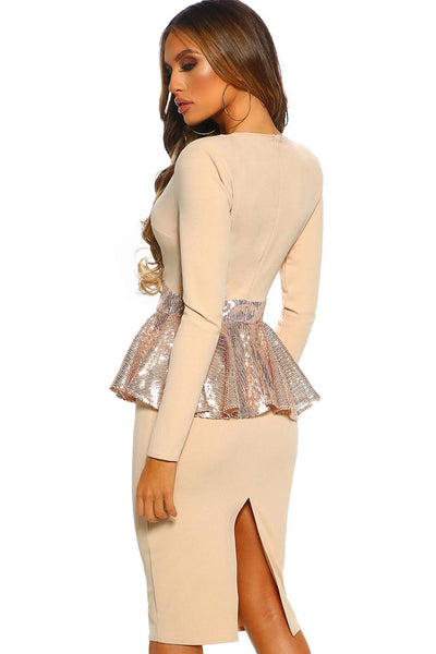 Midnight Hour Stone Sequin Peplum Long Sleeve Midi Dress