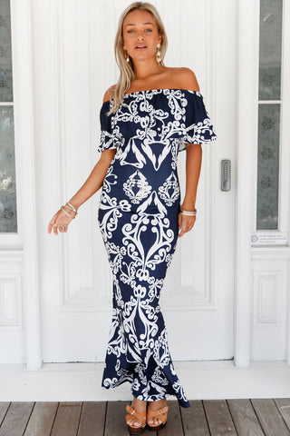 Tendril Print Navy Off-the-shoulder Maxi Dress