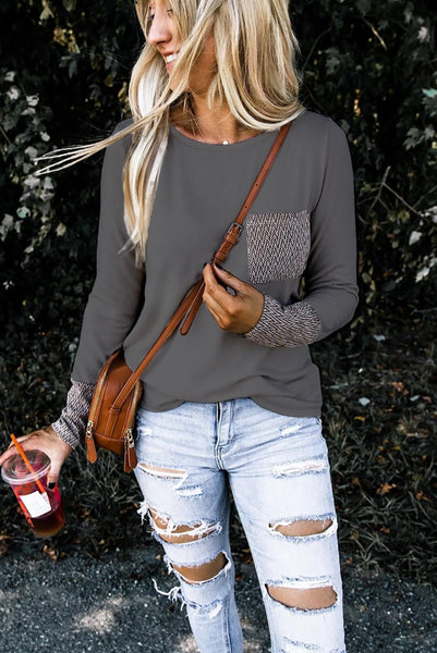 Gray Chevron Print Pocket and Sleeve Cuffs Top