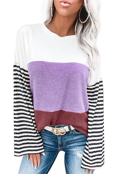 Relaxed Fit Colorblock Bell Sleeve Top