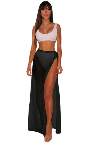 Black Mesh Slit Cover Up Belted Maxi Skirt