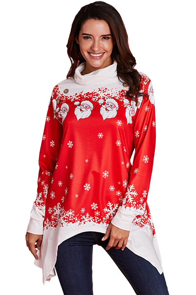 Cowl Neck Santa Claus Snowflake Xmas Tunic Top
