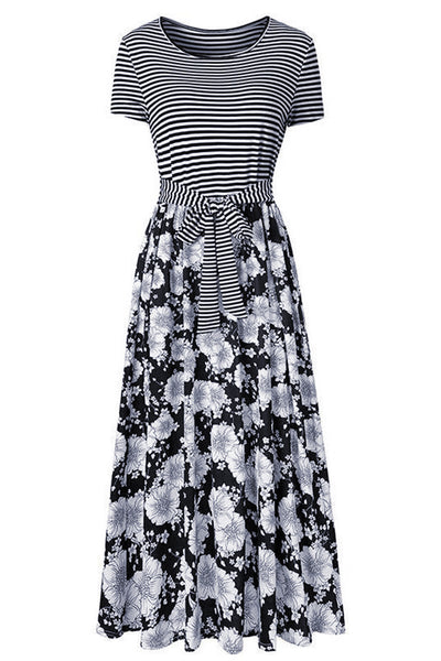 Black Floral Print Striped Belt Pockets Maxi Dress
