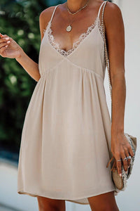 Beige Lace Babydoll Dress
