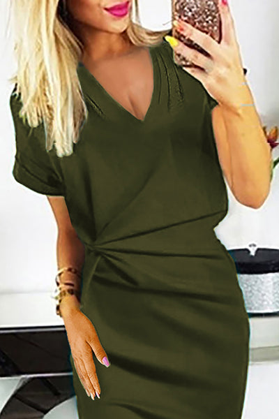 Green V Neck Cutout Inverted Pleat Bodycon Dress