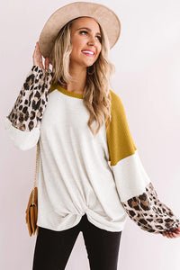 Leopard Long Sleeve Waffle Knit White Blouse with Twist Knot