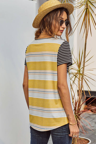 Black Striped Colorblock Tee