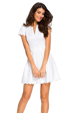 Sweet Scallop Pleated Skater Dress