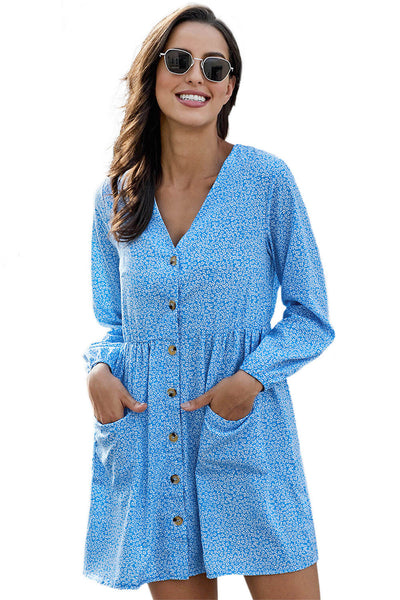 Sky Blue Printed V Neck Buttoned Long Sleeve Shirt Dress