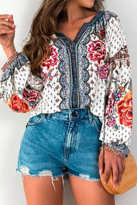 Red Floral Print Long Sleeve Mid-Length Blouse