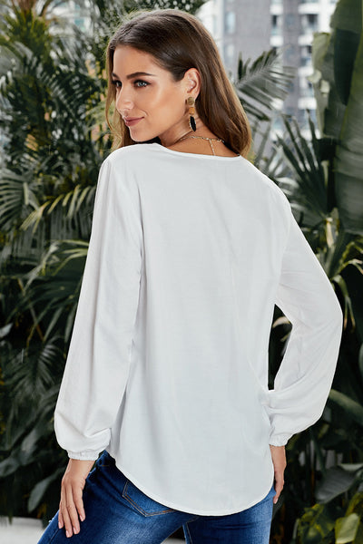 White Button up Long Sleeves Top with Front Tie