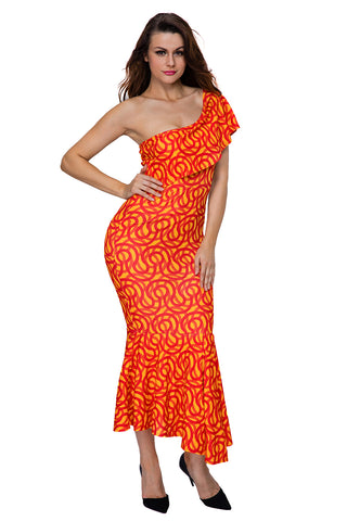 Single Shoulder Mermaid Hem Africa Print Dress