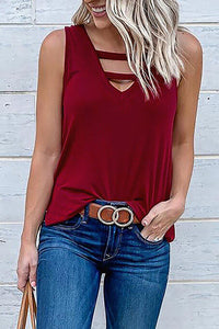 Burgundy Hollow-out Casual Tank