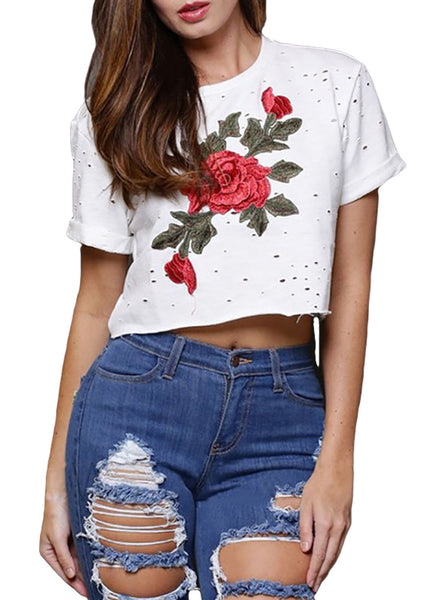 White Embroidered Flower Broken Hole Crop Top