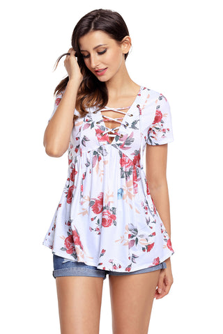 Floral Grommet Lace Up V Neck Loose Shirt