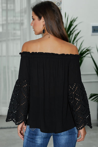 Black Off The Shoulder Eyelet Sleeves Blouse