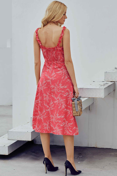 Red Botanical Print Dress