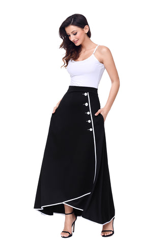 Black Piped Button Embellished High Waist Maxi Skirt