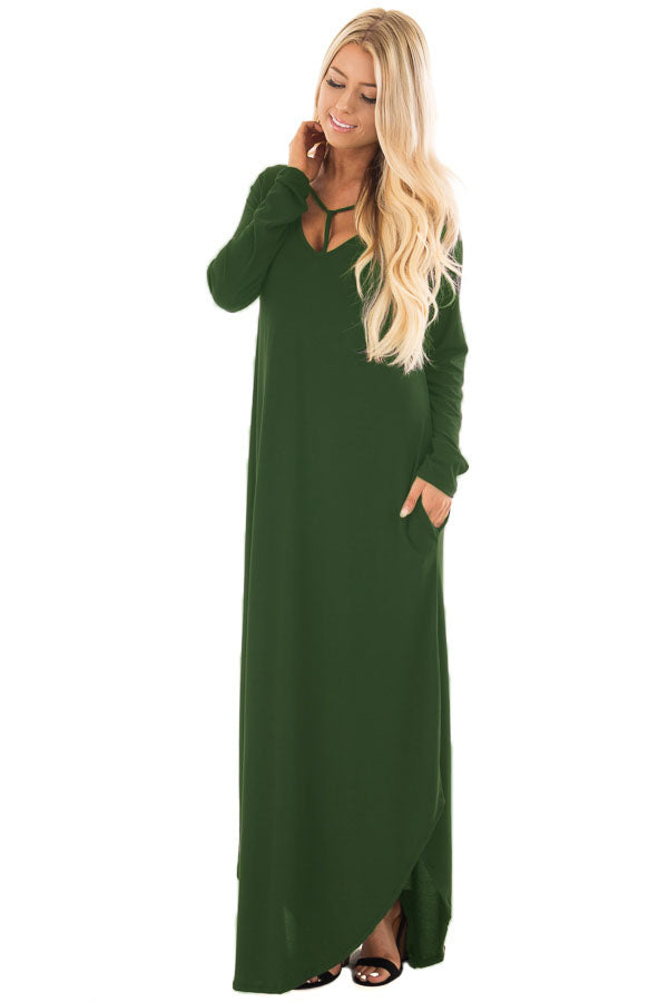 Green Y Strap Neckline Relaxed Long Jersey Dress