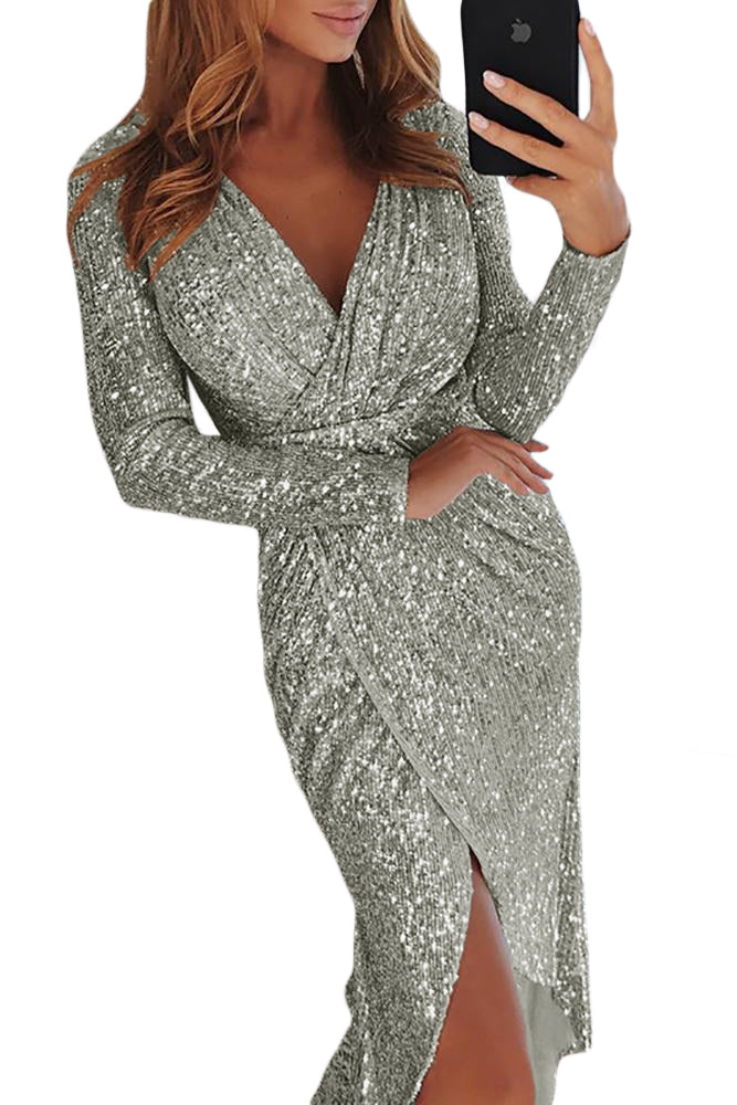 Silver Sequins Wrapped Ruched Irregular Dress