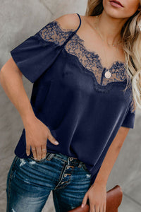 Blue Lace V Neck Strappy Cold Shoulder Short Sleeves Top