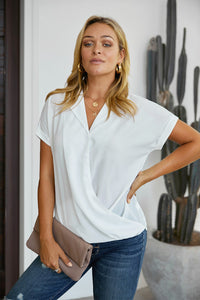 White Road To Success Button Up Drape Blouse