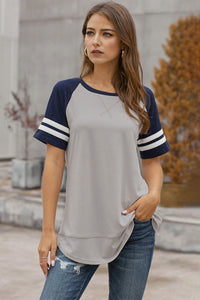 Gray Color Block Contrast Short Sleeve T-shirt
