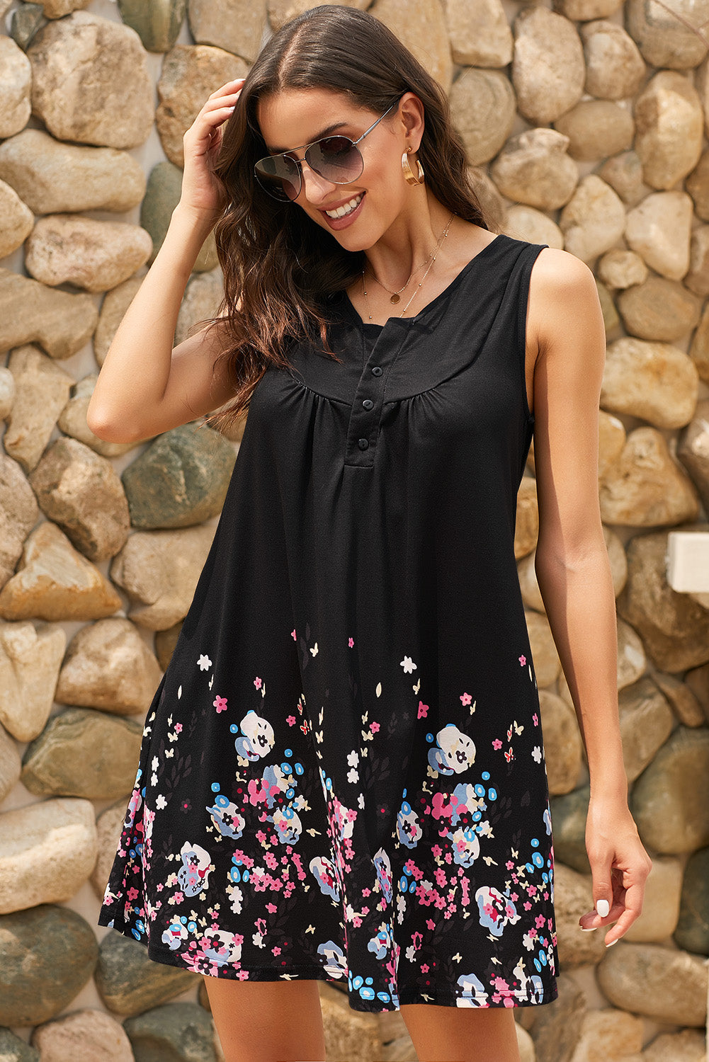 Black Crew Neck A-Line Daily Beach Floral Dress