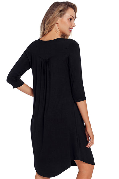 Black Quarter Sleeve Casual Tunic Dress