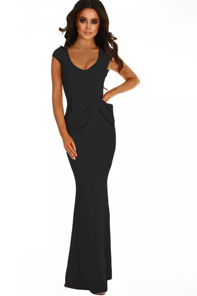Black Ruched Waist Wedding Party Maxi Dress
