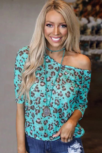 Turquoise Leopard Twist Back Top
