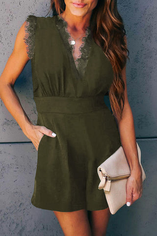 Green V-neck Lace Romper