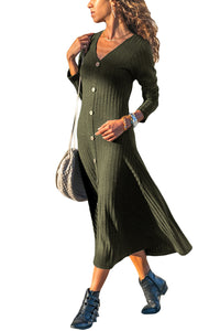 Army Green Button Front Long Sleeve Ribbed Midi Dress