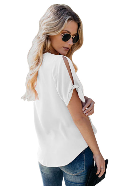 White Casual Tie Knot Short Sleeve V-Neck Button Chiffon Blouse