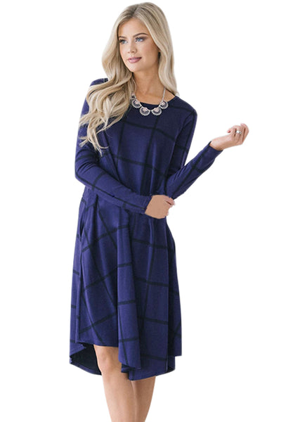 Navy Blue Checked Long Sleeve Casual Midi Dress