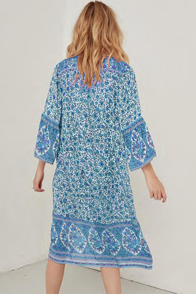 Sky Blue Three-Quarter Sleeve Mid-Calf Print Dress