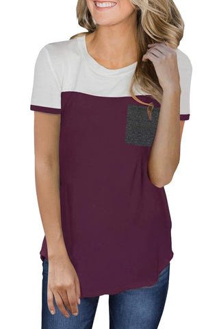 Red Color Block Pocketed T Shirt