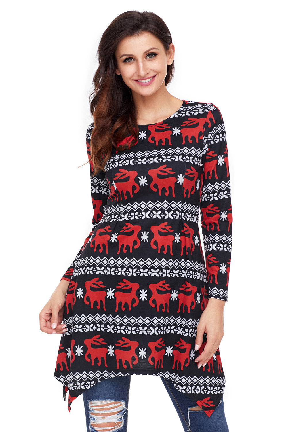 Cute Christmas Reindeer Print Black Swingy Mini Dress