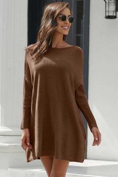 Khaki Oversized Batwing Sleeve Sweater Dress